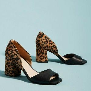 Anthro Seychelles Shabby chic heel sandal leopard